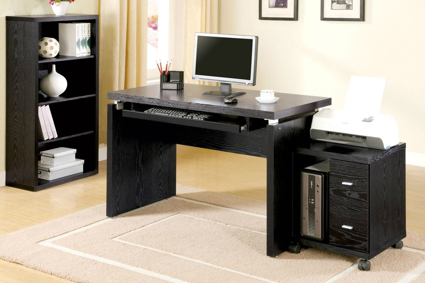 Unique Black Wood Computer Desk - Steal-A-Sofa Furniture Outlet Los  QZ33