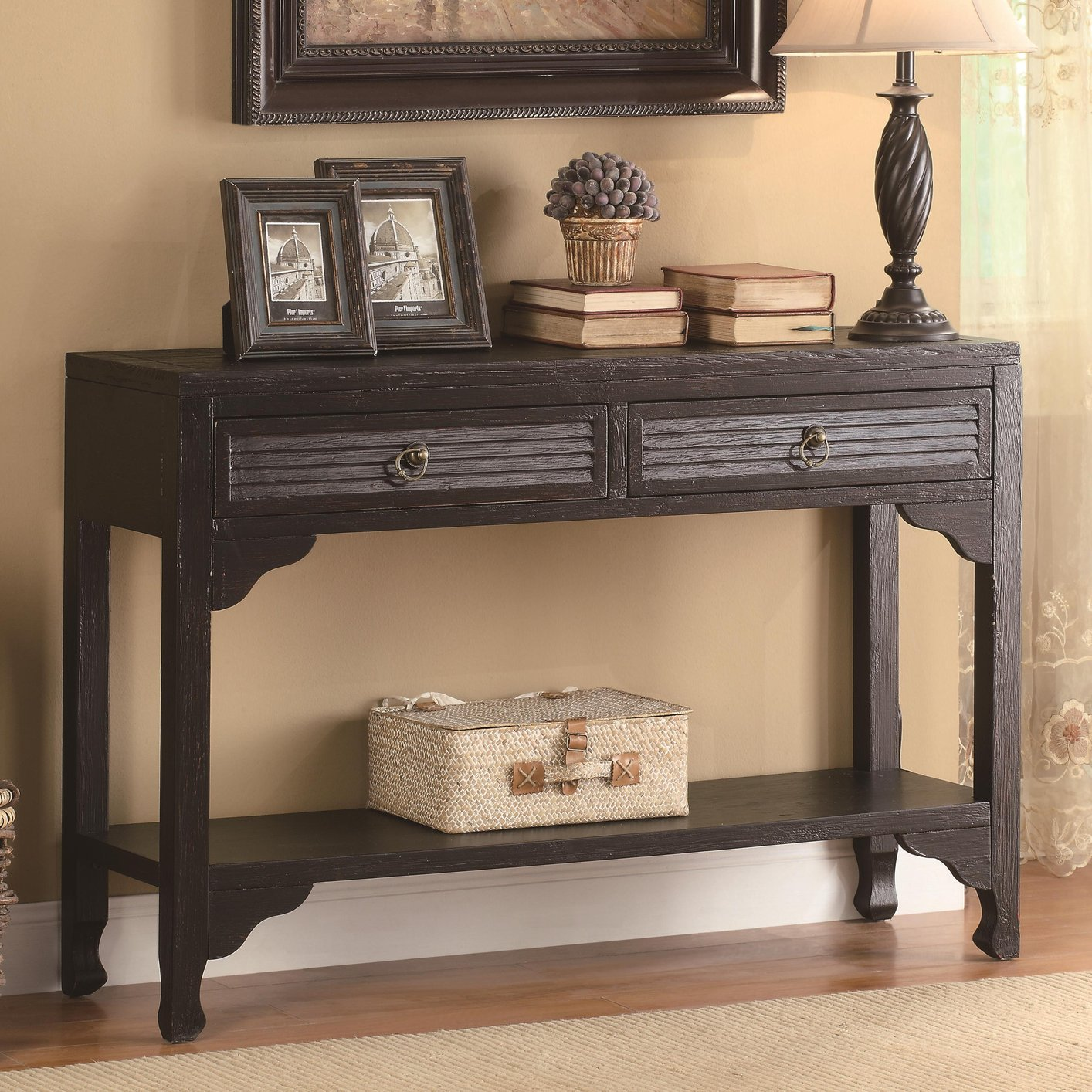 Black Wood Console Table StealASofa Furniture Outlet Los Angeles CA