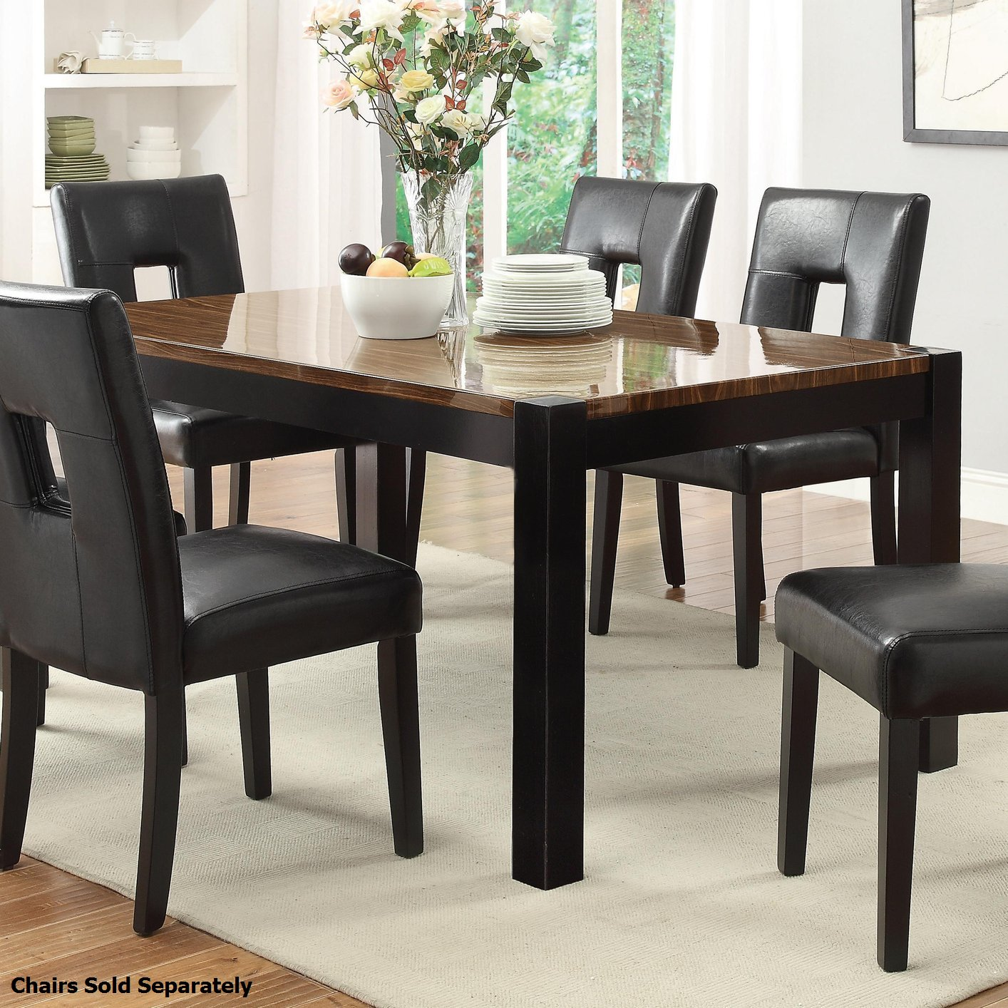 Coaster 103611 black wood dining table steal a sofa for Black wood dining table