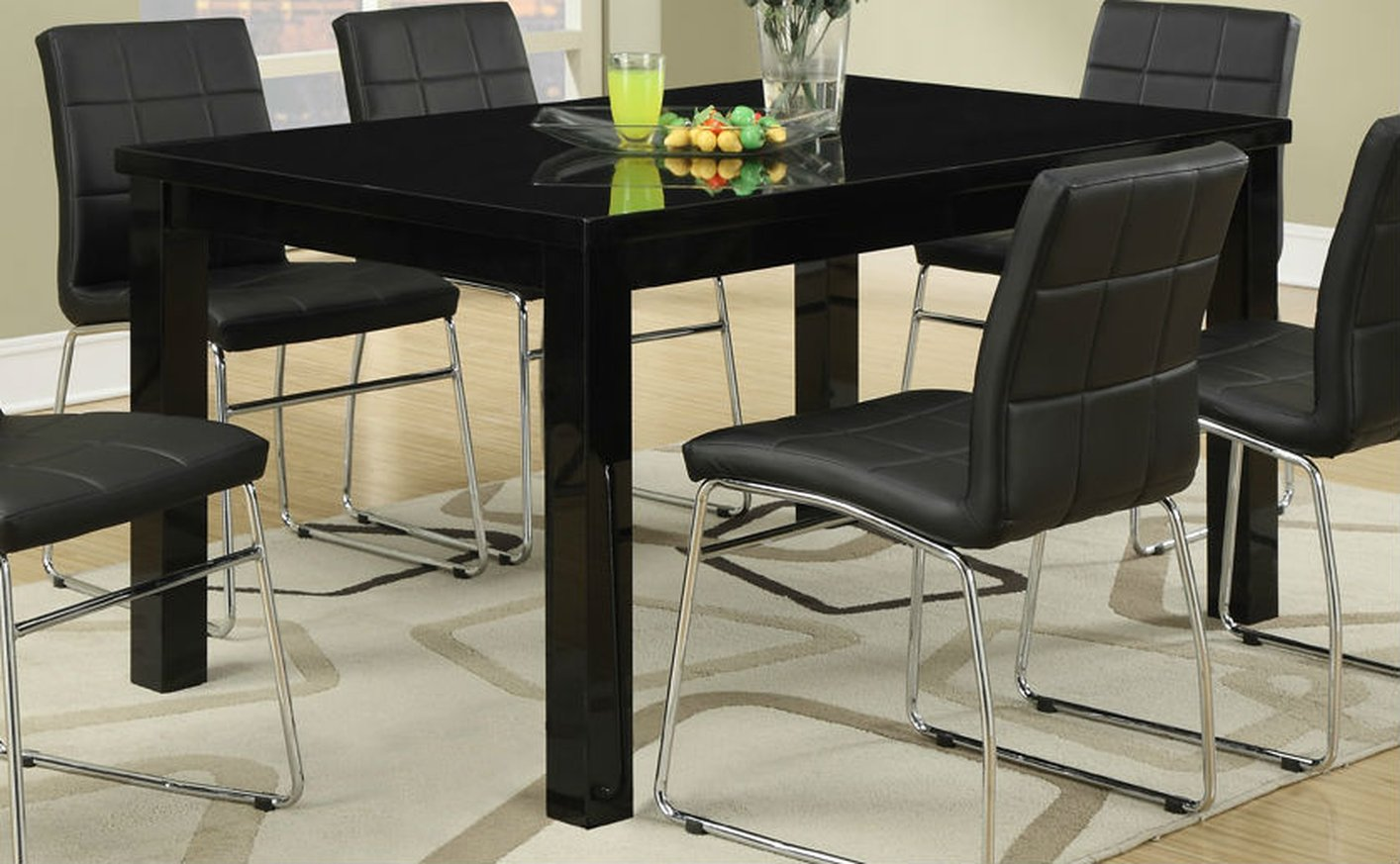 Black wood dining table steal a sofa furniture outlet for Furniture 90036