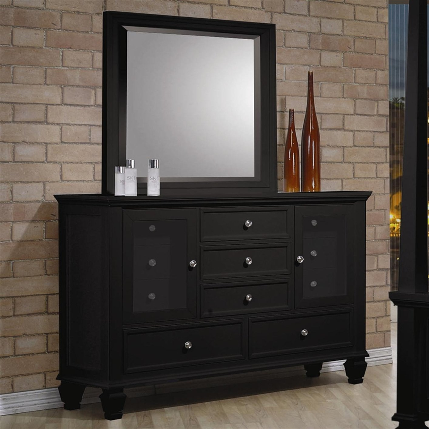 Coaster 201323 black wood dresser steal a sofa furniture for Bedroom furniture 90036