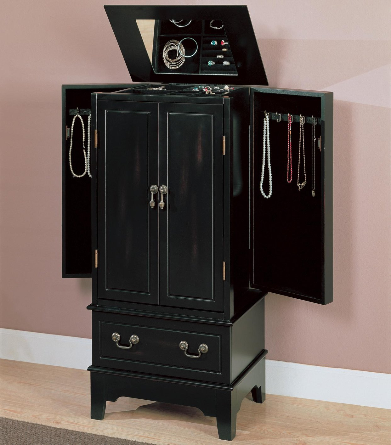 Black Wood Jewelry Armoire - Steal-A-Sofa Furniture Outlet ...