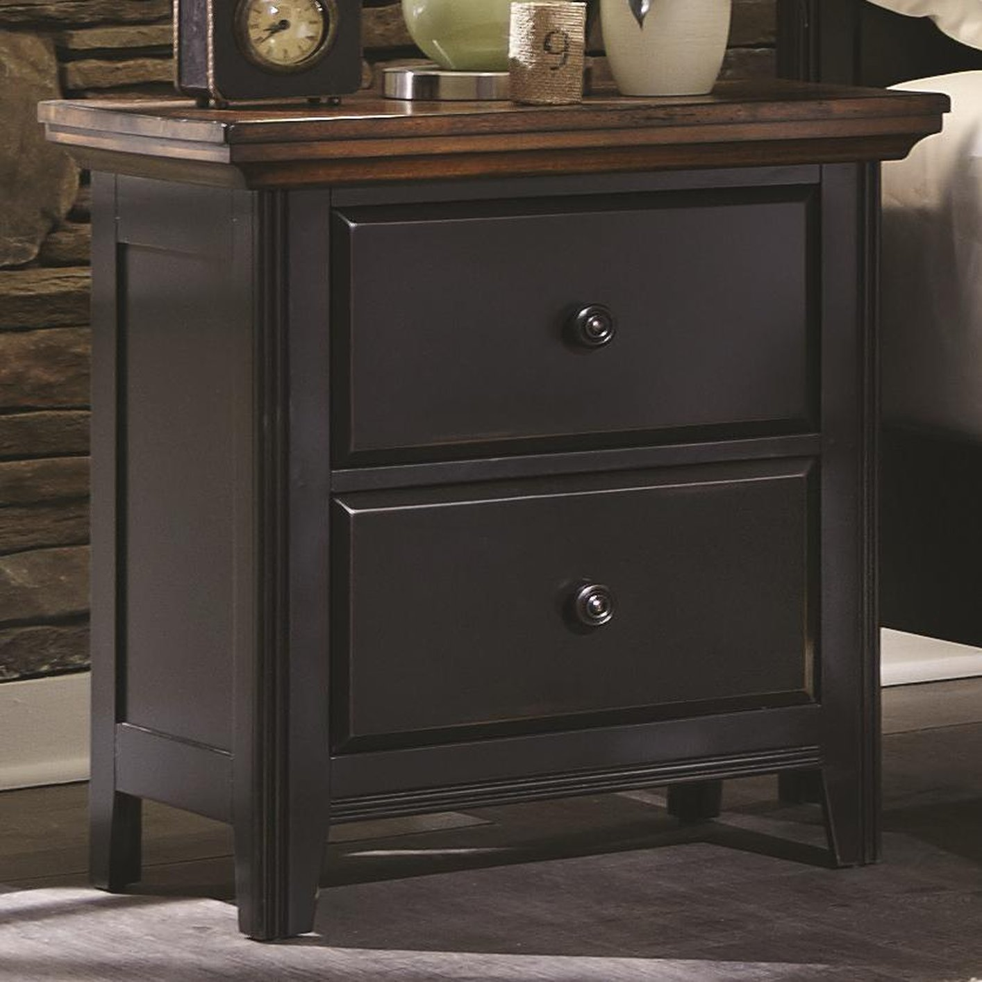 Black wood nightstand steal a sofa furniture outlet los for Bedroom furniture 90036
