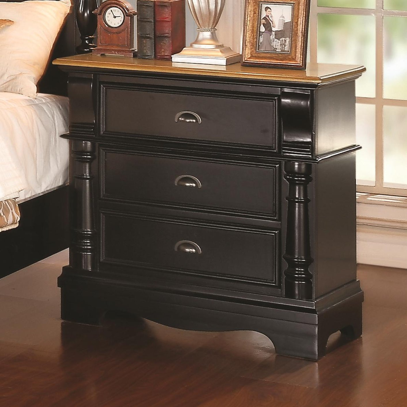 Coaster 203182 black wood nightstand steal a sofa for Black wood nightstand