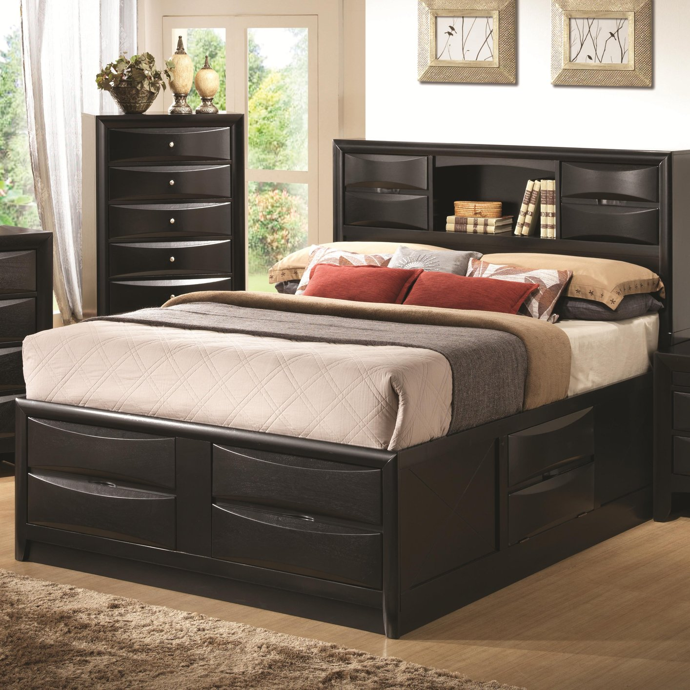 Coaster 202701Q Black Queen Size Wood Bed - Steal-A-Sofa Furniture ...
