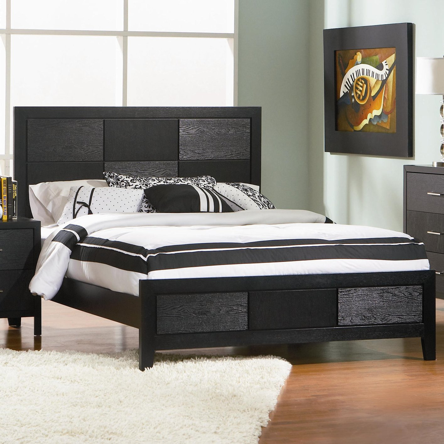 coaster 201651q black queen size wood bed steal a sofa furniture outlet los angeles ca. Black Bedroom Furniture Sets. Home Design Ideas
