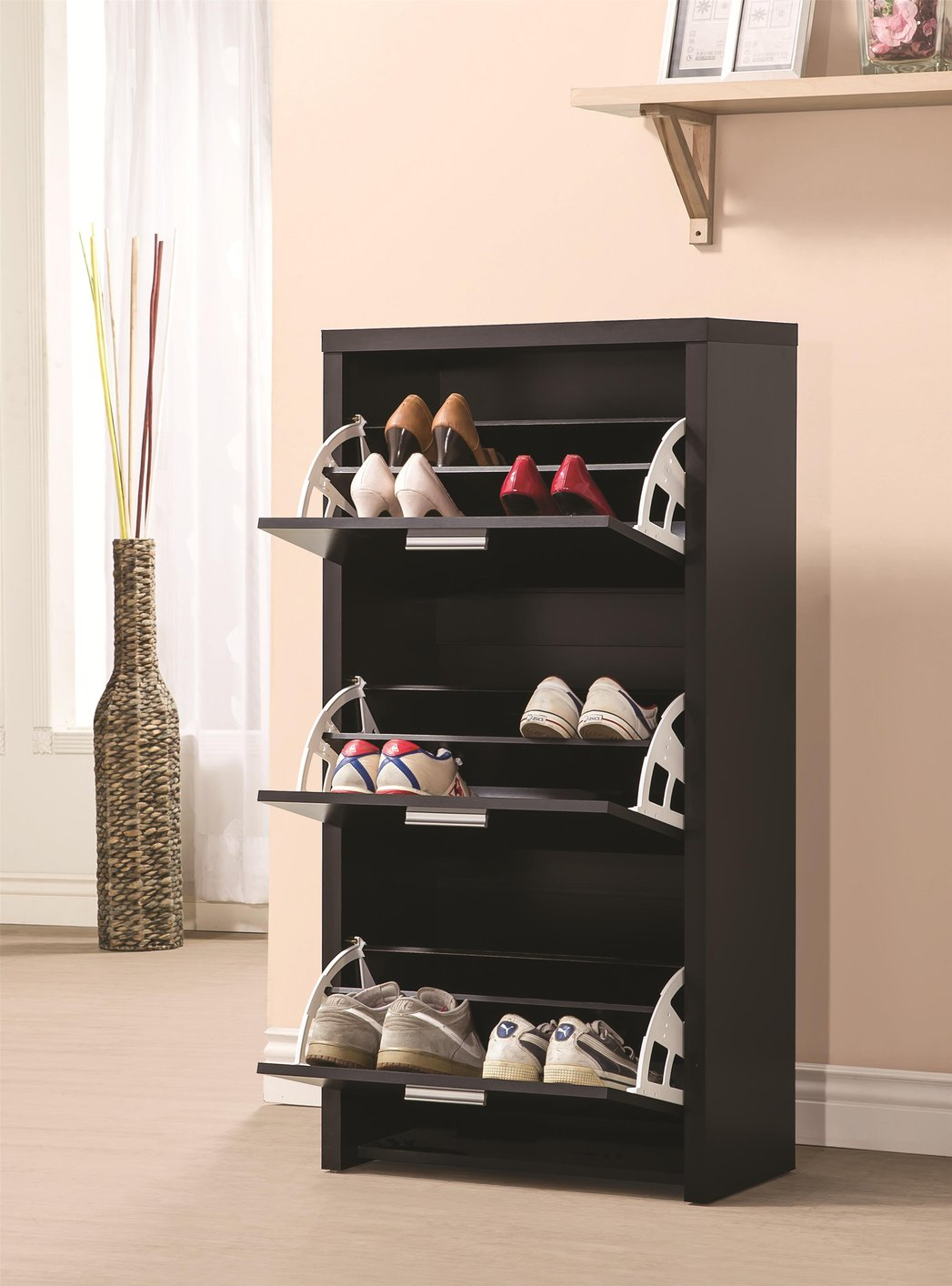Black Wood Shoe Cabinet