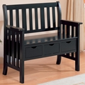 Black Wood Storage Bench