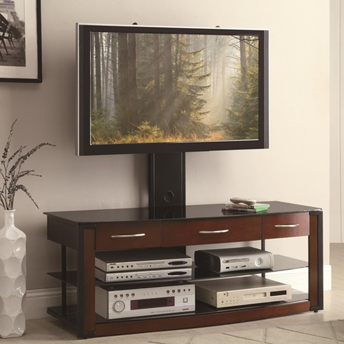 Brown Wood Tv Stand Steal A Sofa Furniture Outlet Los Angeles Ca