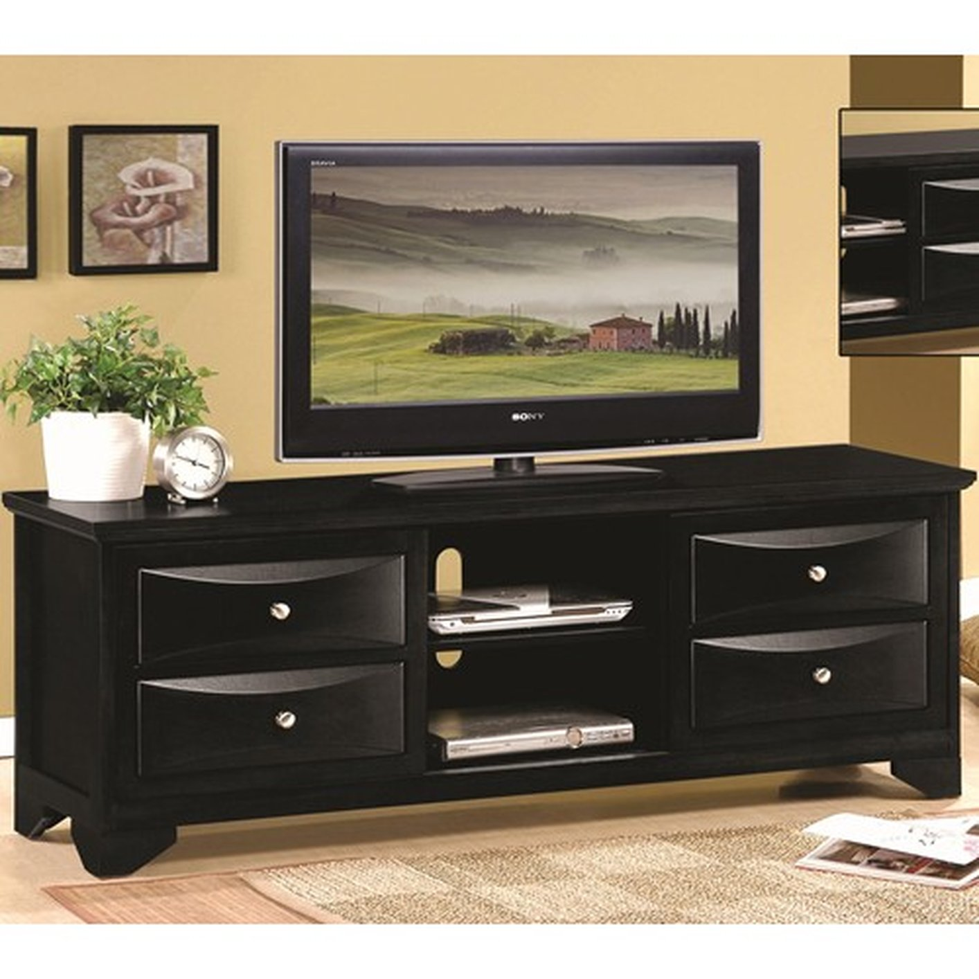 Black Wood Tv Stand Steal A Sofa Furniture Outlet Los Angeles Ca