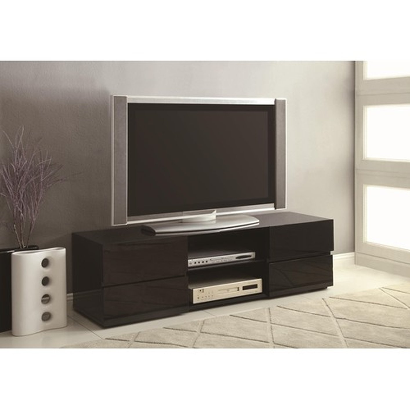 coaster 700841 black wood tv stand steal a sofa furniture outlet los angeles ca. Black Bedroom Furniture Sets. Home Design Ideas