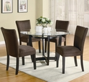 Bloomfield Chocolate Wood And Glass Dining Table Set