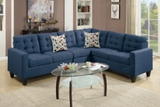 Peta Blue Fabric Sectional Sofa