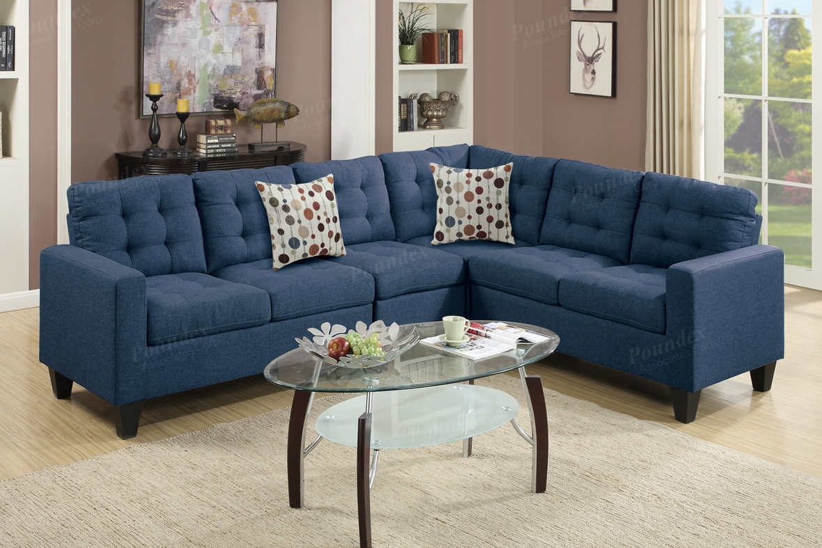 Poundex peta f6938 blue fabric sectional sofa steal a for Sectional sofa los angeles ca