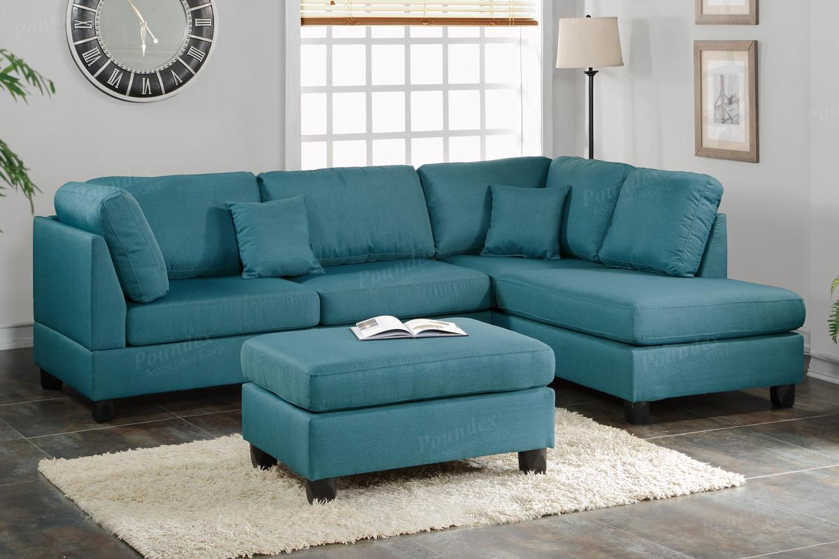 Courtney blue fabric sectional sofa and ottoman