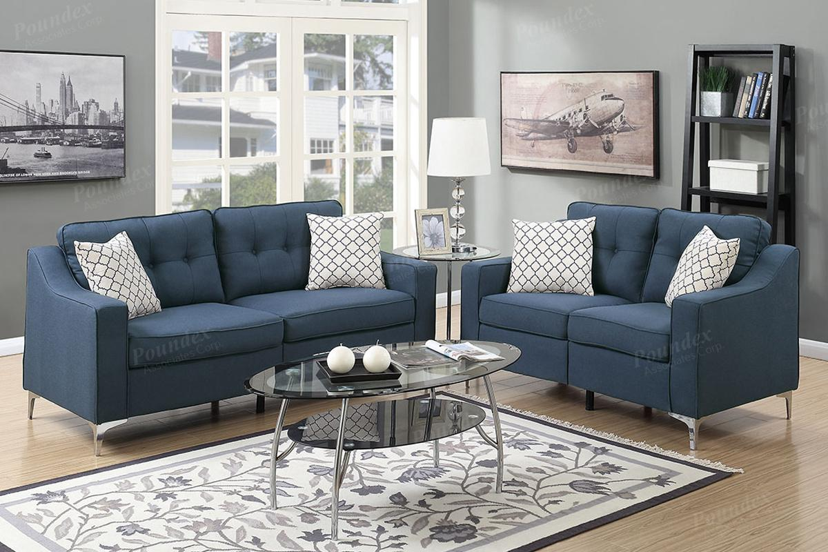 Exceptional Blue Fabric Sofa And Loveseat Set