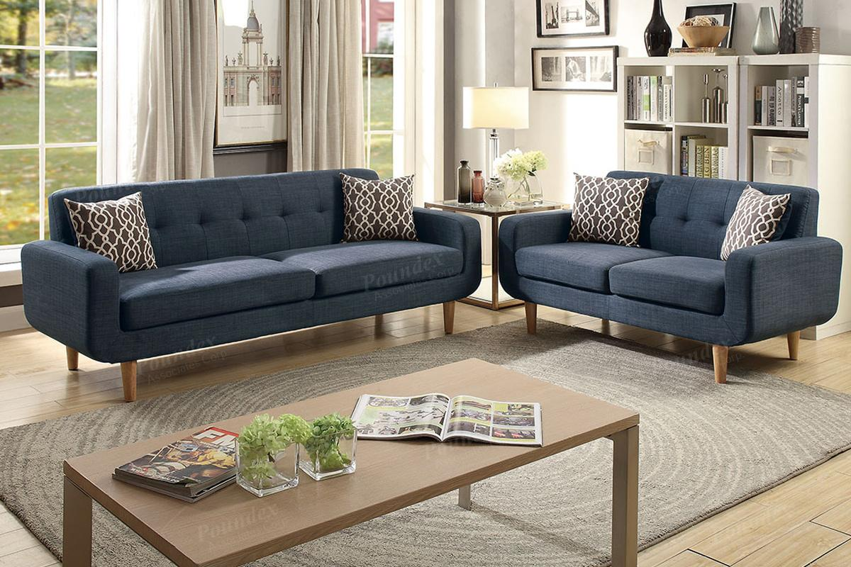 Blue Fabric Sofa and Loveseat Set - Steal-A-Sofa Furniture Outlet ...
