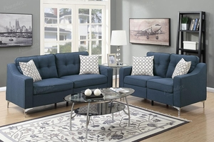 Blue Fabric Sofa and Loveseat Set