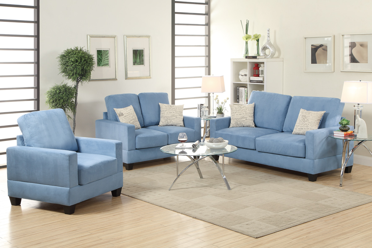 Rebel Blue Wood Sofa Loveseat And Chair Set