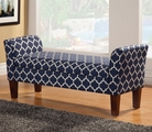 Blue Fabric Storage Bench