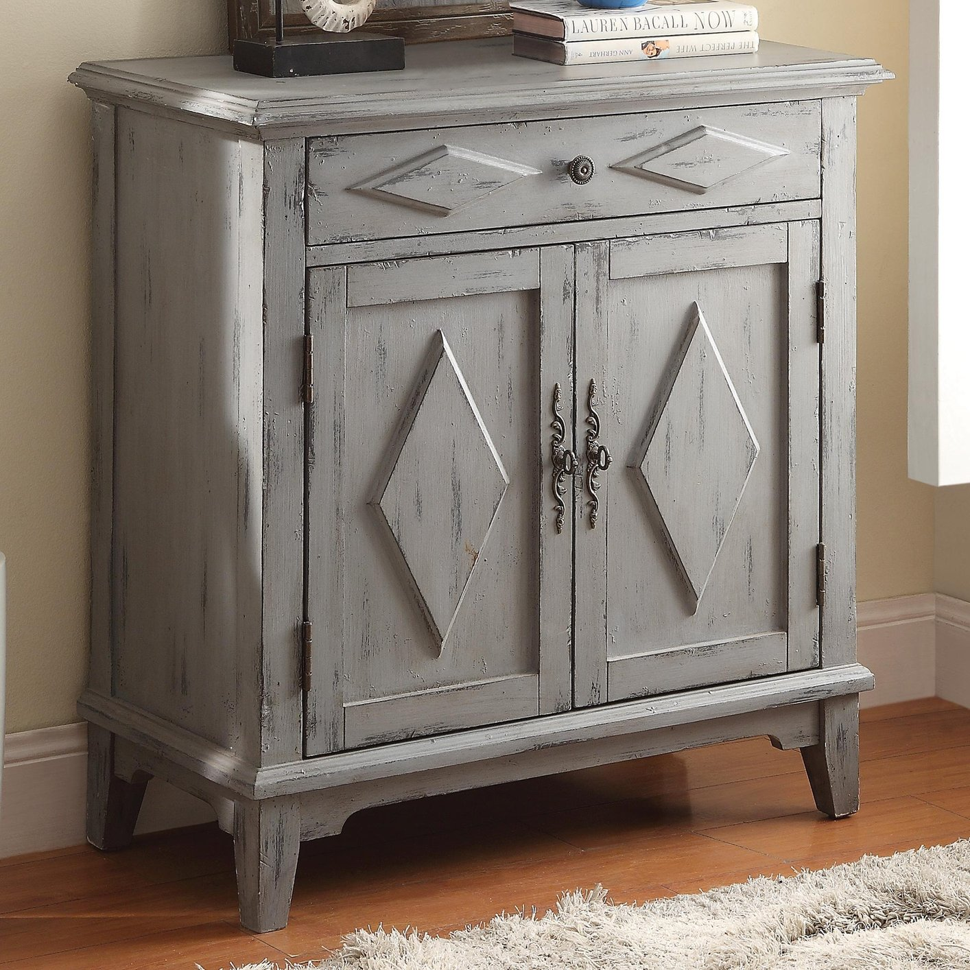 Blue Wood Accent Cabinet Steal A Sofa Furniture Outlet