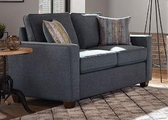 Blue Wood Loveseat