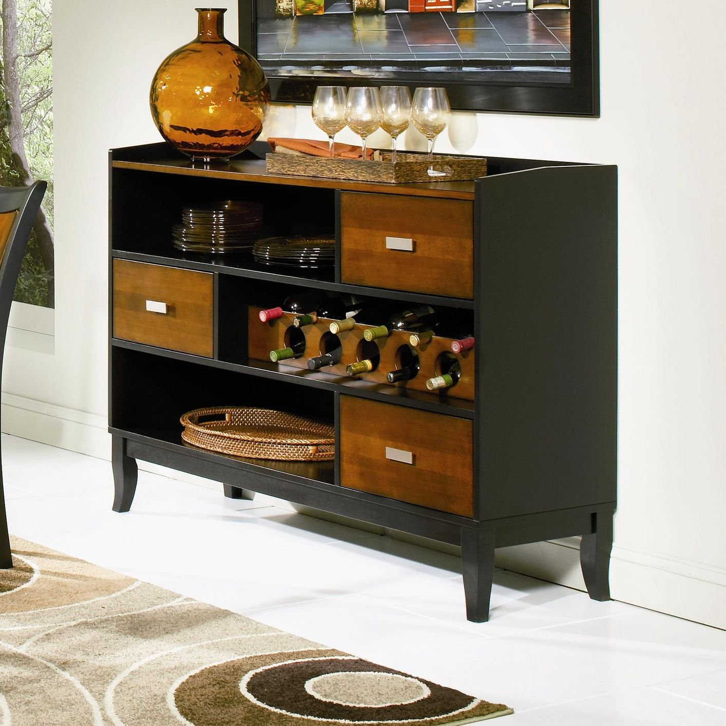 Black Wood Buffets ~ Coaster black wood server steal a sofa furniture