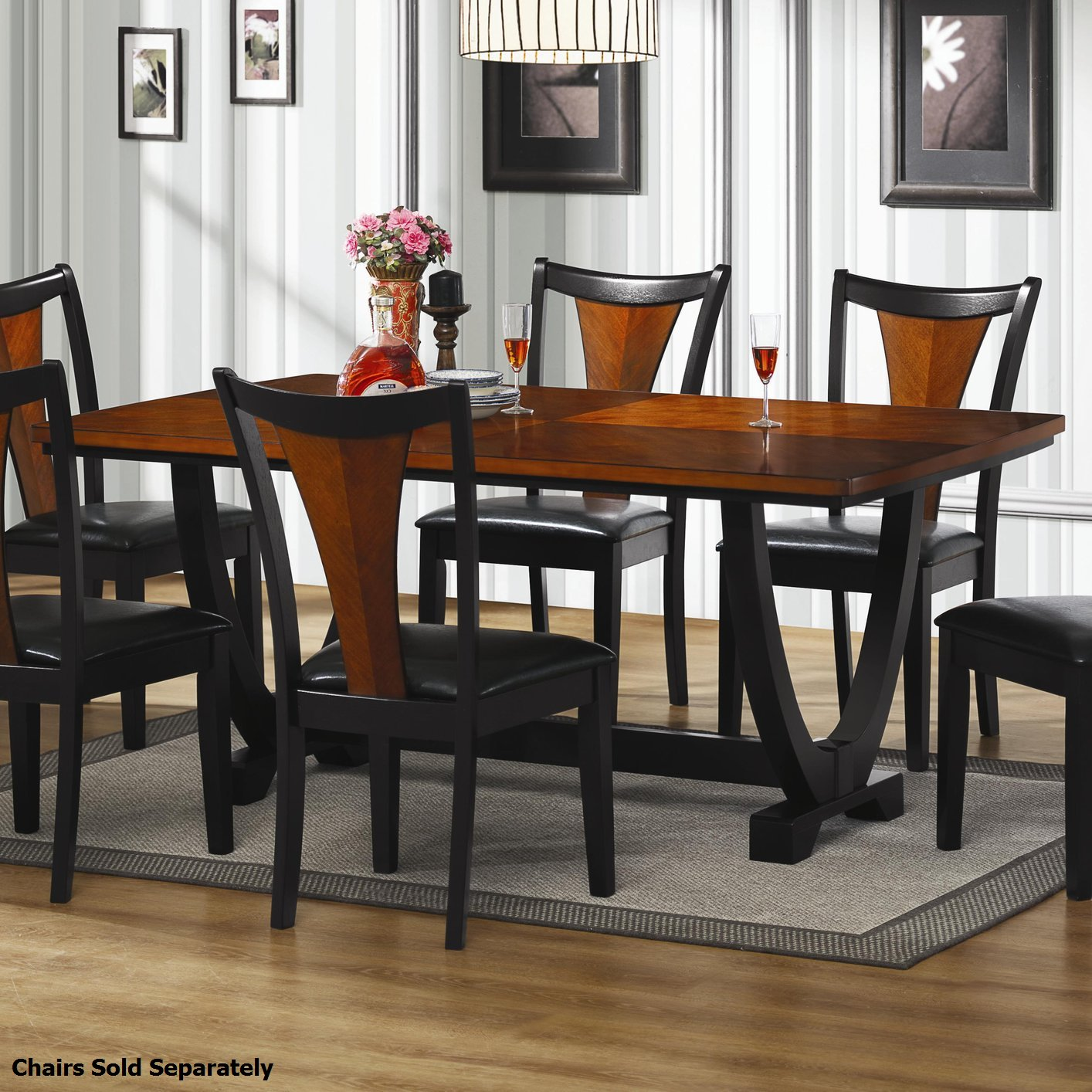 Wood And Black Dining Table: Steal-A-Sofa Furniture Outlet