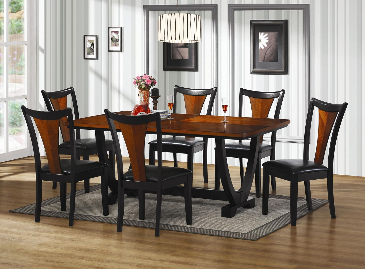 Charming Boyer Black And Cherry Wood Dining Table Set