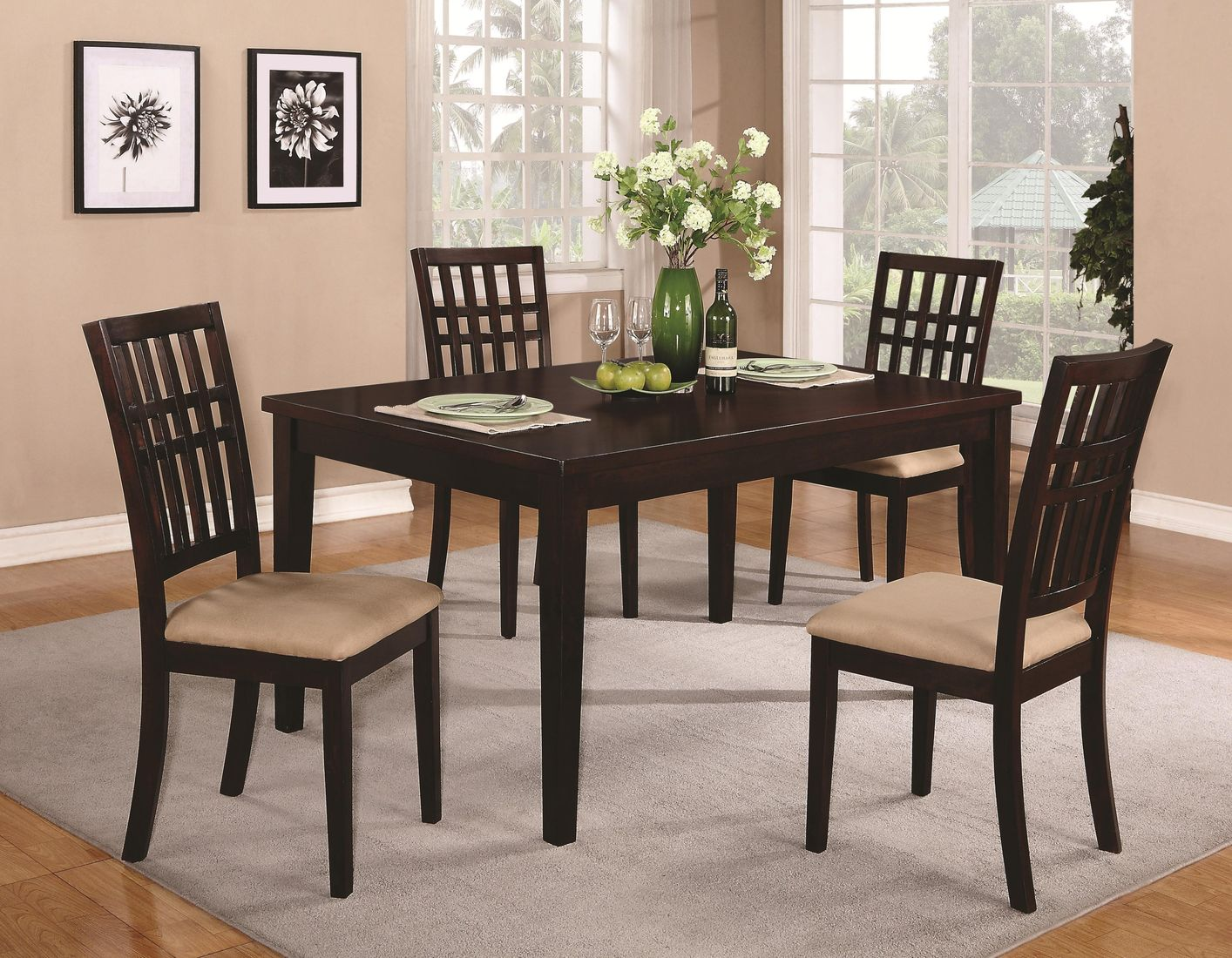 Brandt Dark Cherry Wood Dining Table  StealASofa Furniture Outlet Los Angeles CA