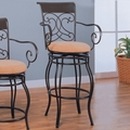 Brown Fabric Bar Stool