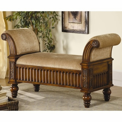 Brown Fabric Bench