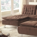 Brown Fabric Chaise Lounge