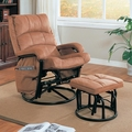 Brown Fabric Glider Recliner