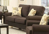 Noella Brown Fabric Loveseat