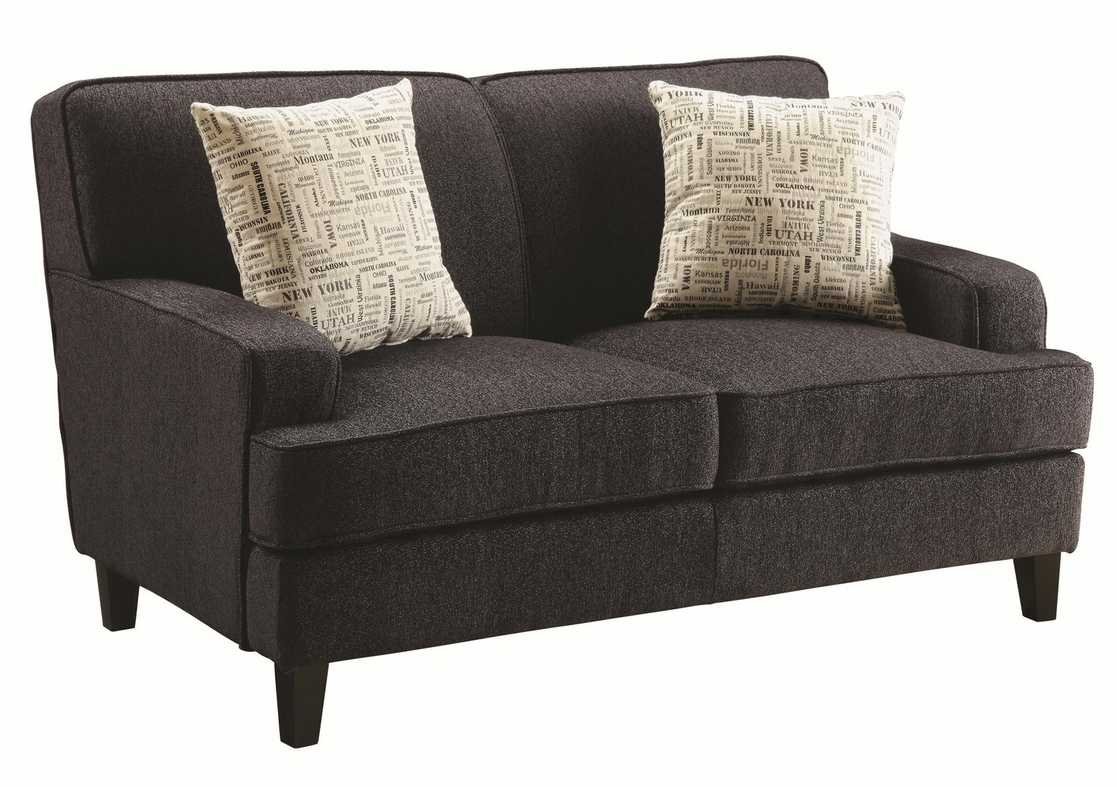 Finley brown fabric loveseat steal a sofa furniture for Furniture 90036