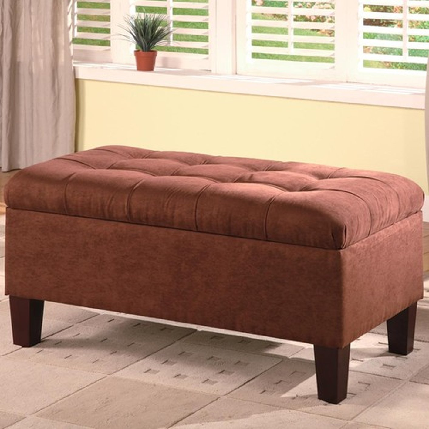 Brown Fabric Ottoman - Coaster 501040 Brown Fabric Ottoman - Steal-A-Sofa Furniture