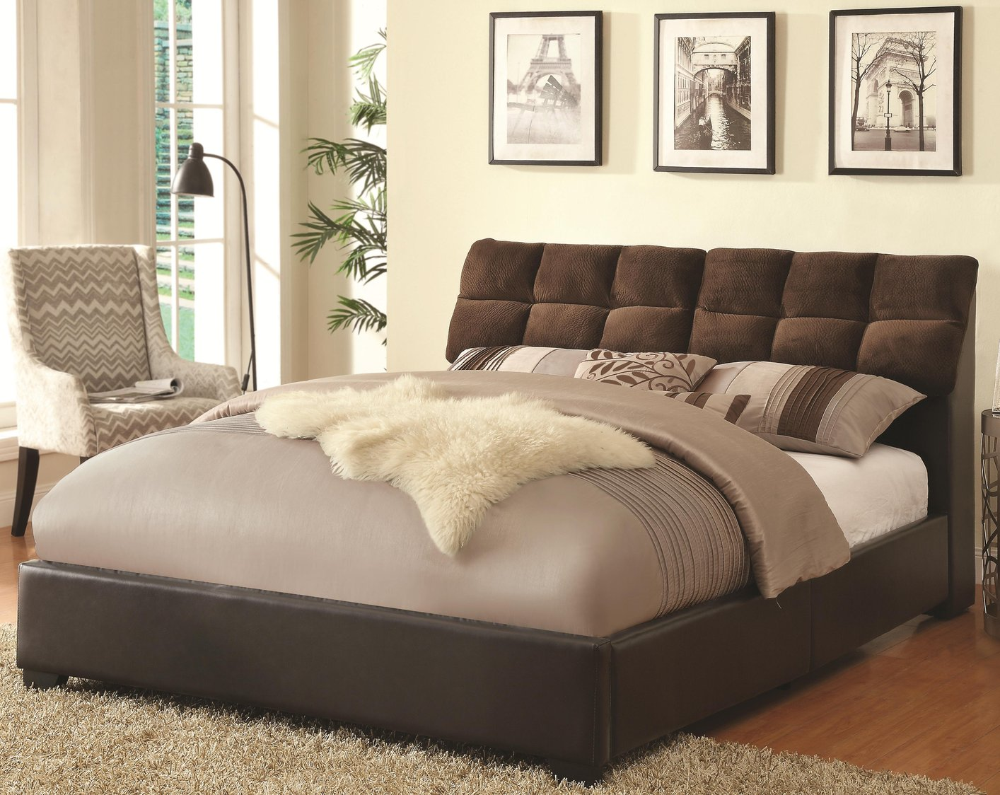 Brown Leather Queen Size Bed Steal A Sofa Furniture Outlet Los