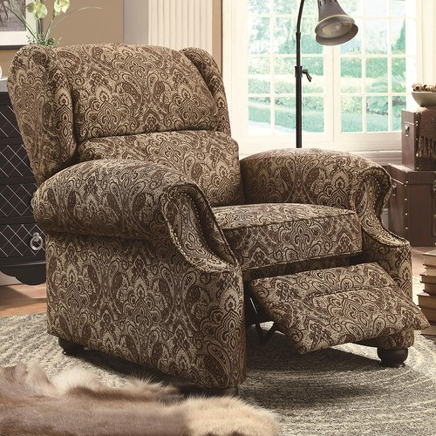 Brown Fabric Reclining Chair Steal A Sofa Furniture Outlet Los