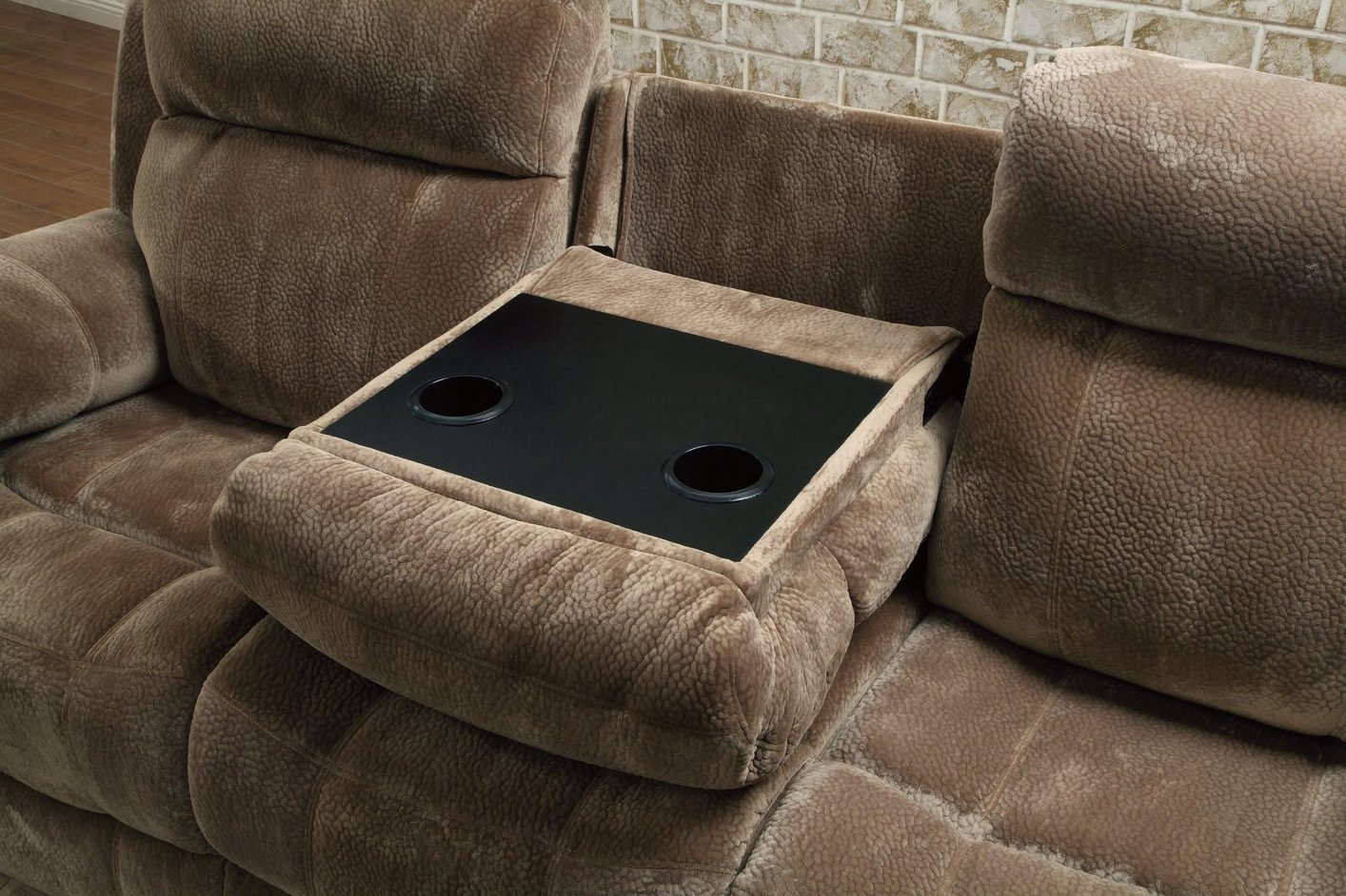 Coaster 603031 brown fabric reclining sofa steal a sofa for Brown fabric couch