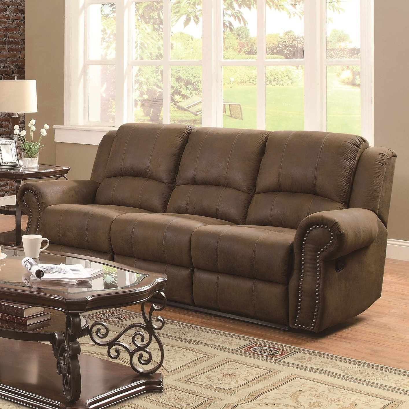 Coaster 650151 brown fabric reclining sofa steal a sofa for Brown fabric couch