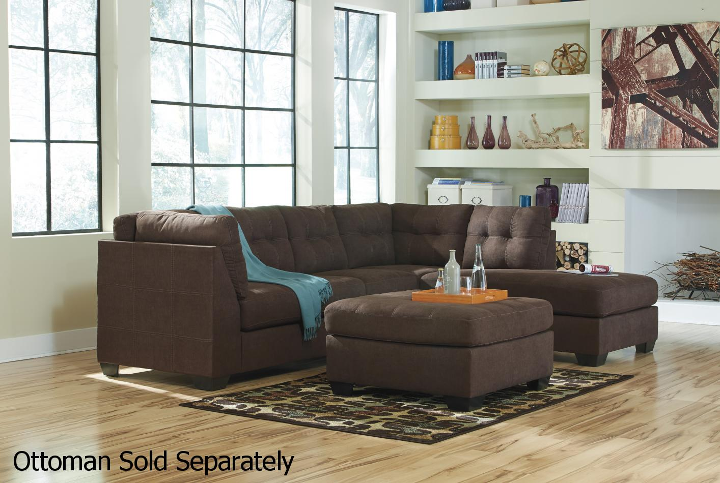 Ashley Furniture Sectional Fabric maier brown fabric sectional sofa - steal-a-sofa furniture outlet
