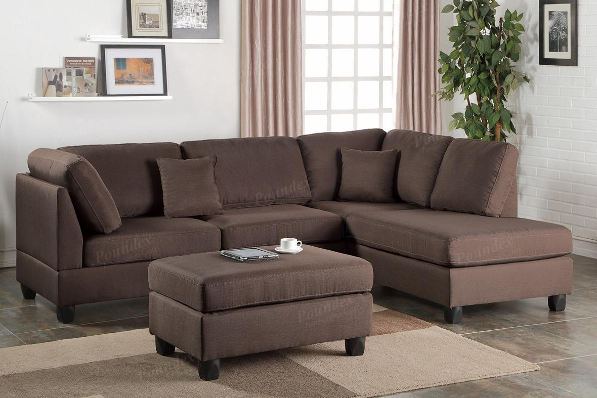 Brown Fabric Sectional Sofa And Ottoman   Steal A Sofa Furniture Outlet Los  Angeles CA