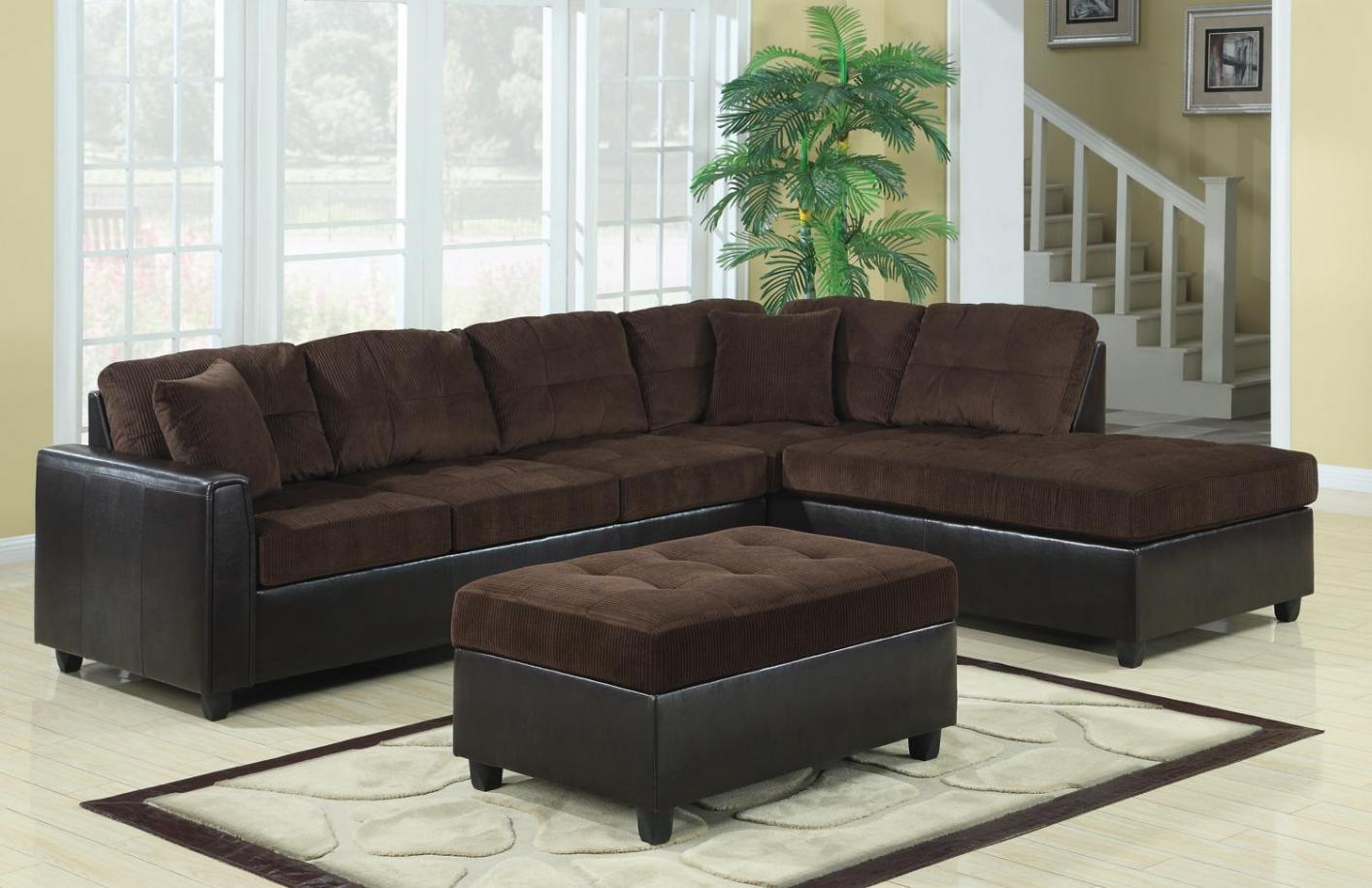 Brown fabric sectional sofa steal a sofa furniture for Brown fabric couch