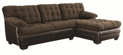 Brown Fabric Sectional Sofa