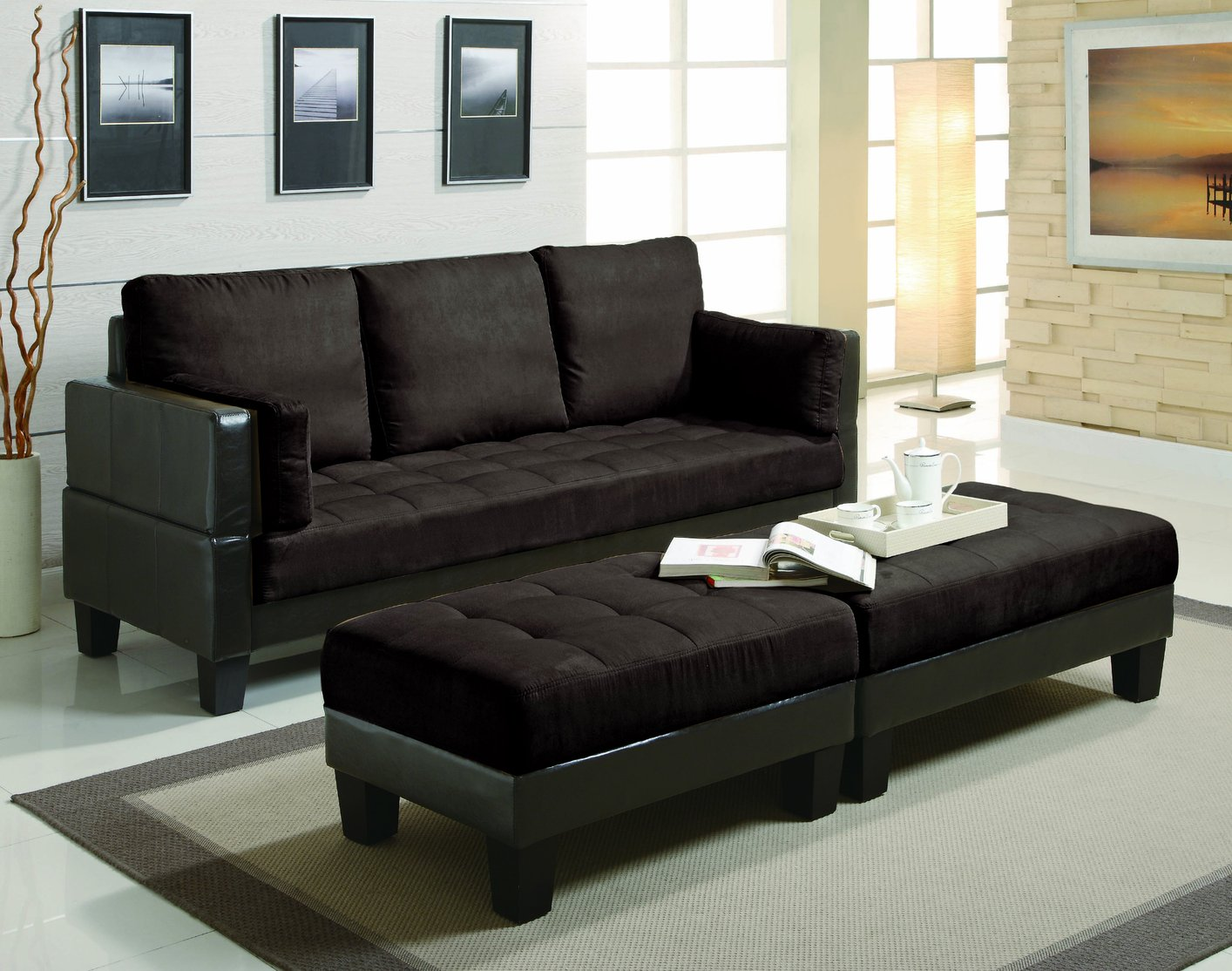 Brown Fabric Sectional Sofa And Ottoman Steal A Sofa