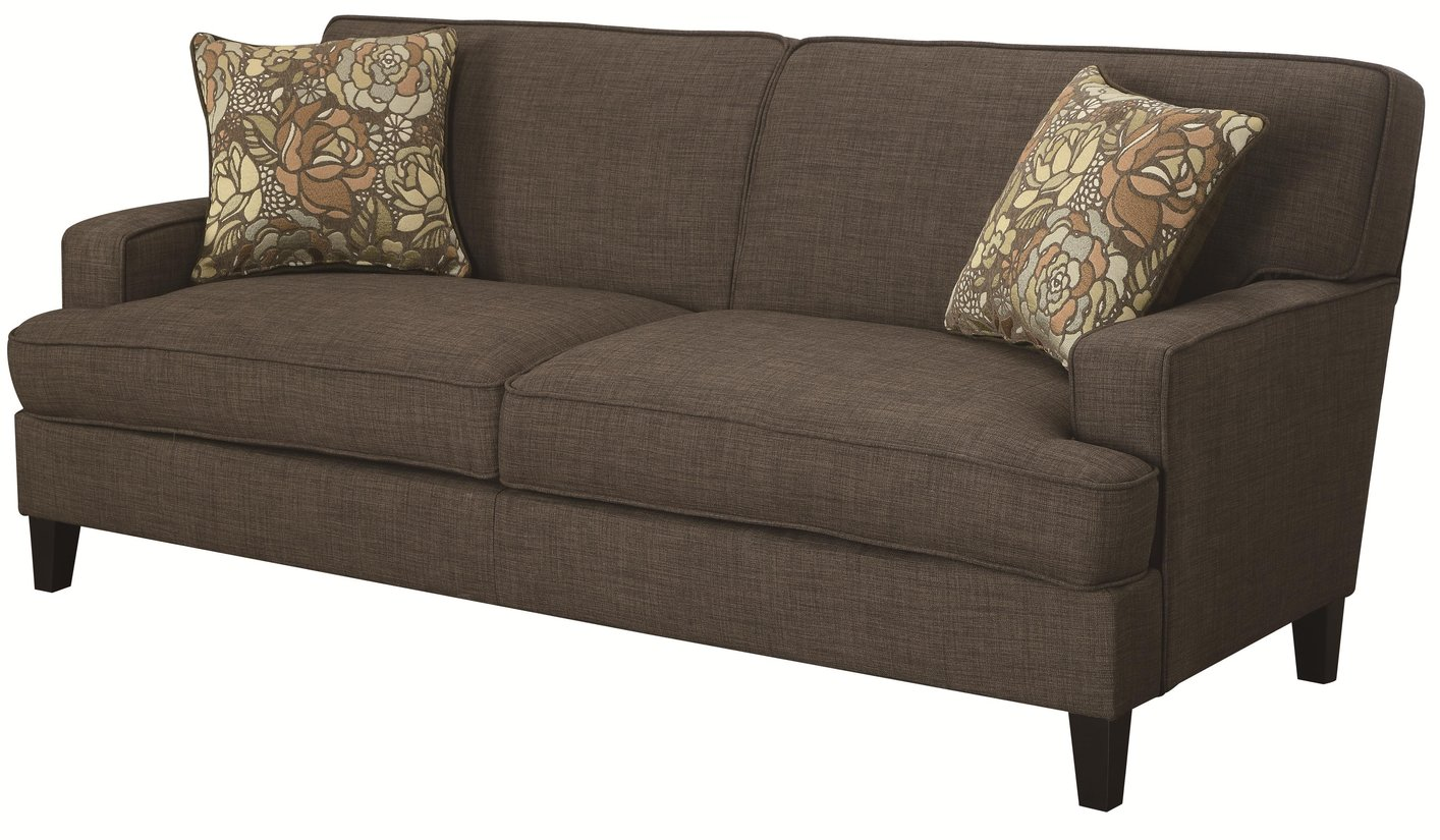 Finley brown fabric sofa steal a sofa furniture outlet for Furniture 90036