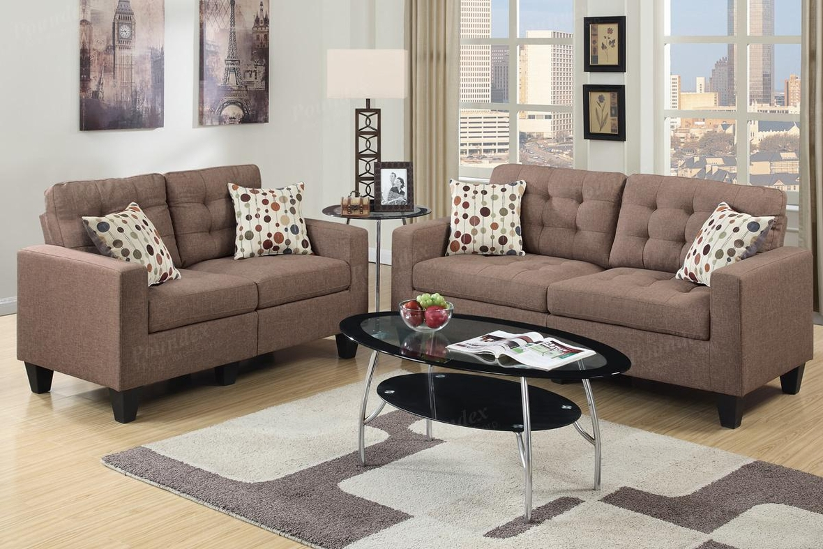 Poundex Acy F6904 Brown Fabric Sofa And Loveseat Set