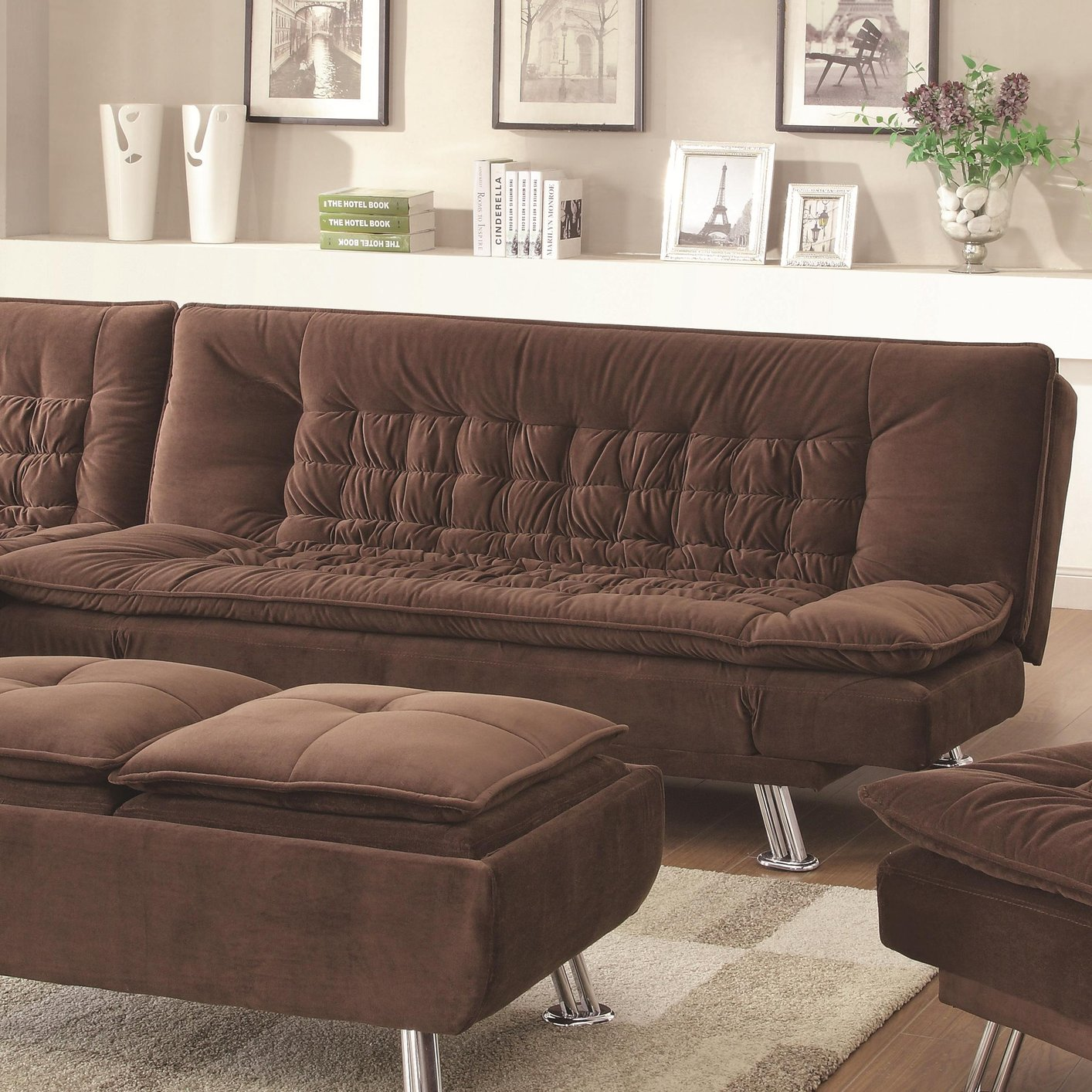 Coaster 300411 brown fabric sofa bed steal a sofa for Brown fabric couch
