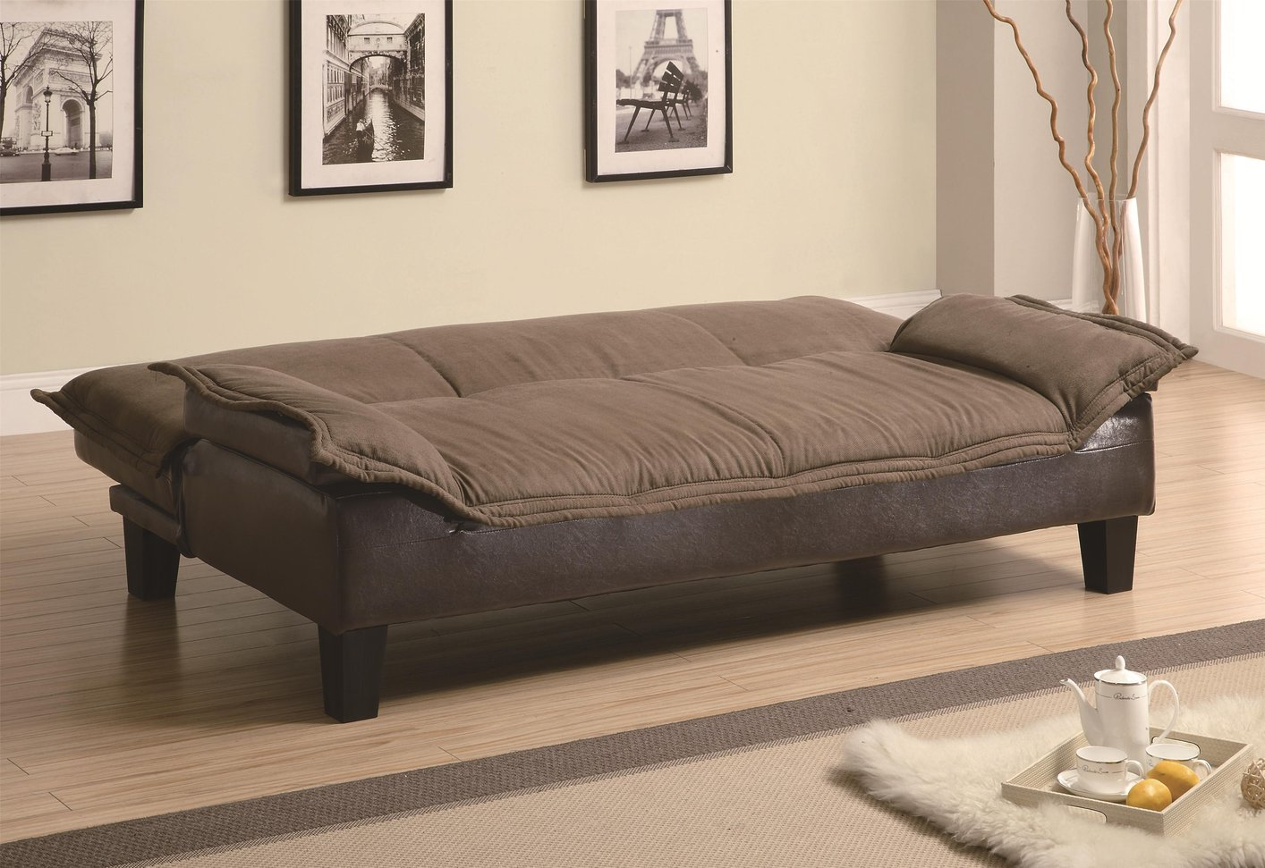 Coaster 300301 brown fabric sofa bed steal a sofa for Sofa bed outlet